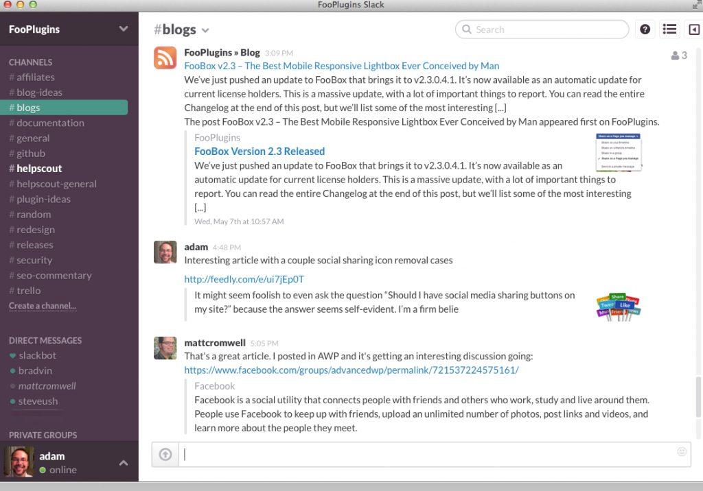 Slack team Communication