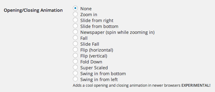 Lightbox animation effects plugin