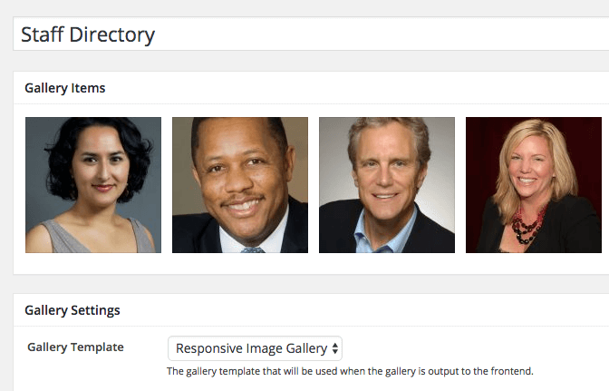 Staff Listing Image Gallery in WordPress