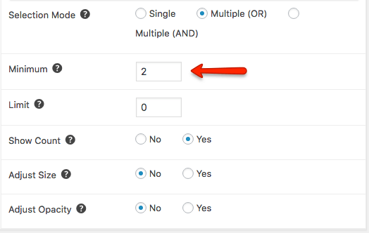 Filtering Minimum only shows tags with more than the set number