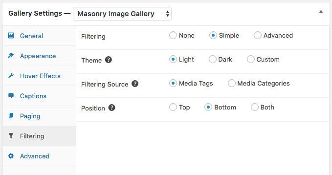 Gallery Filtering simple settings