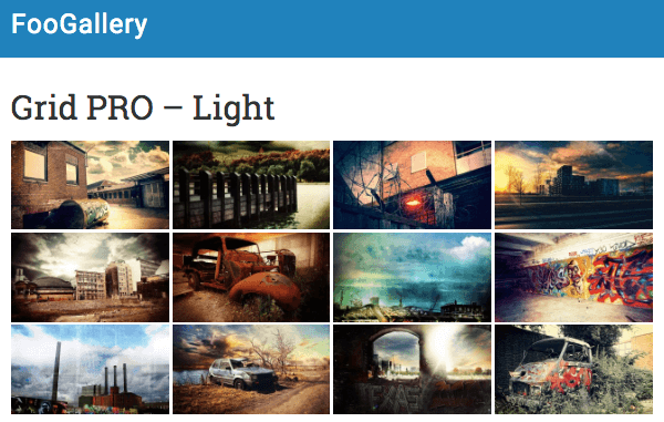 Gallery Template Grid Pro Light Theme