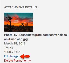 Optimize image Select edit image