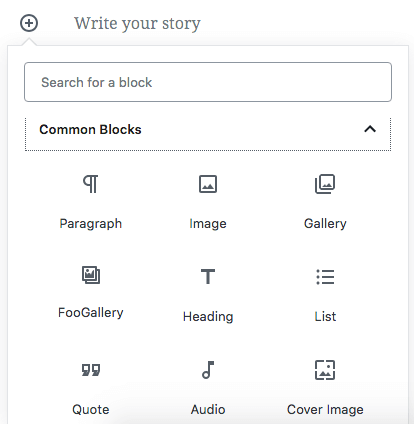 FooGallery displays in Gutenberg block menu