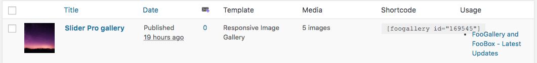 Find gallery shortcodes in FooGallery menu