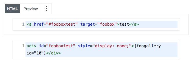 Use Custom HTML block to add a FooGallery to FooBox in Gutenberg