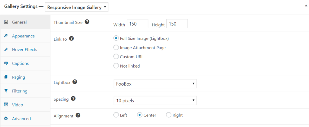 Responsive Image Gallery general settings
