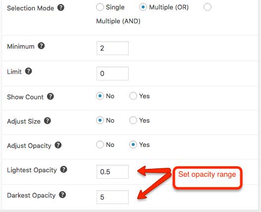 Adjust opacity setting