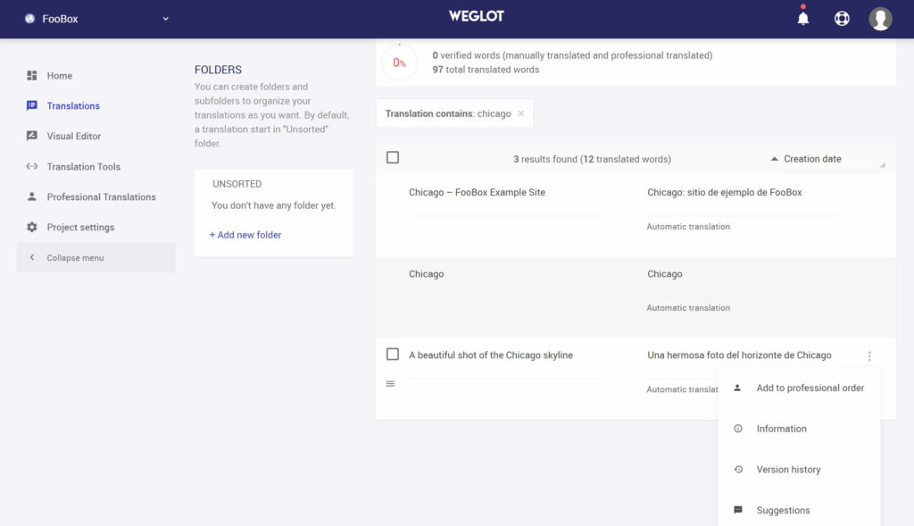 Weglot translation interface for adding WordPress two languages functionality