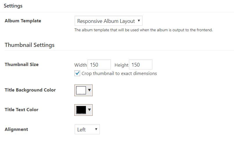Album and thumbnail settings