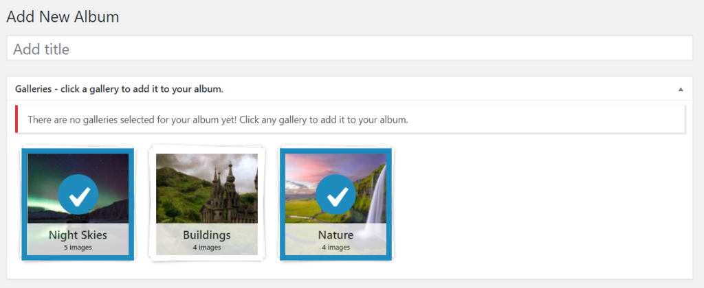 Create new album - select galleries