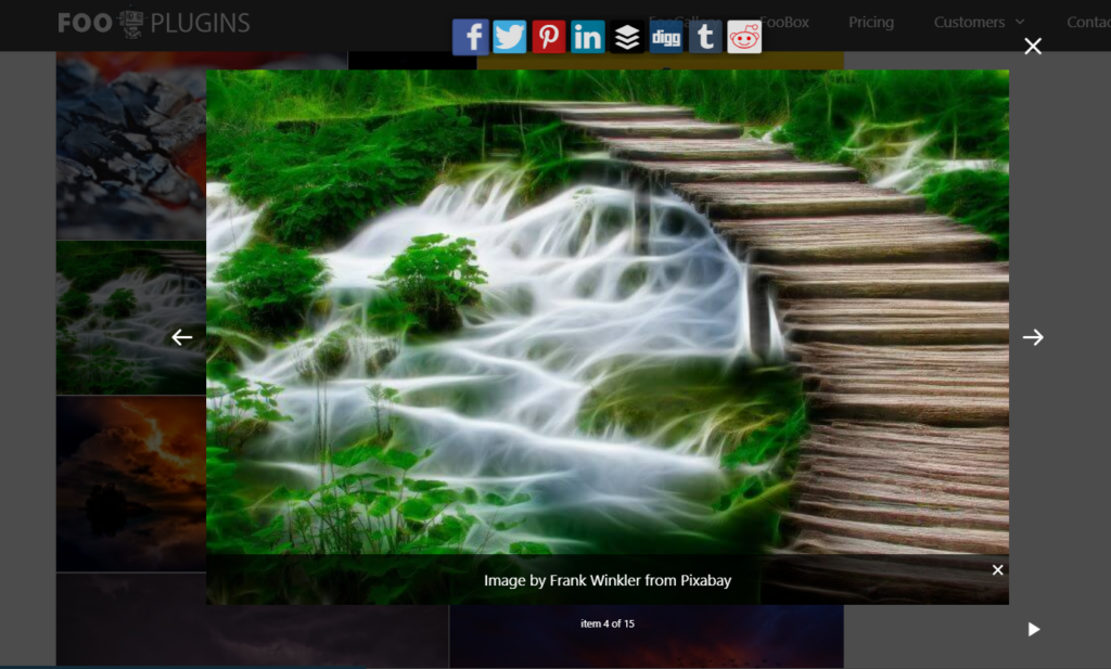 Social icons displayed on FooBox Pro