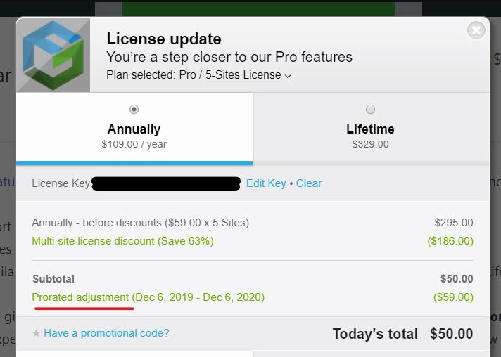 upgrade license prorata