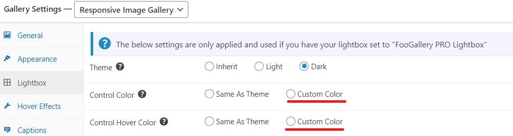 Custom Color Options