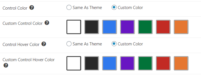 Custom color selection