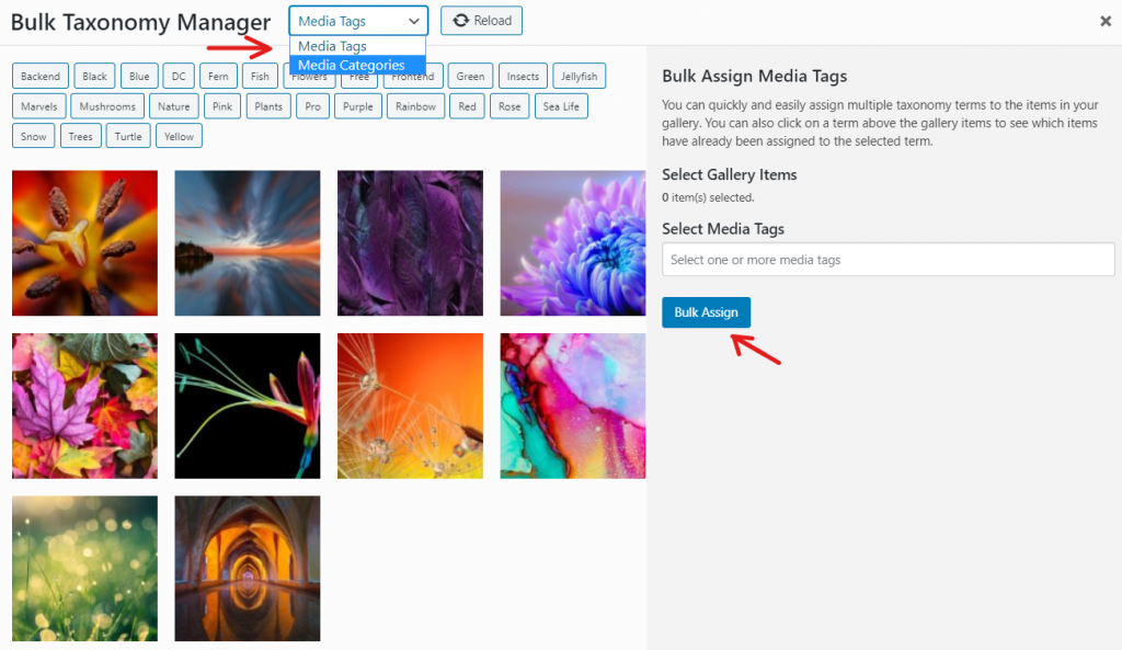 Bulk tagging media from your gallery