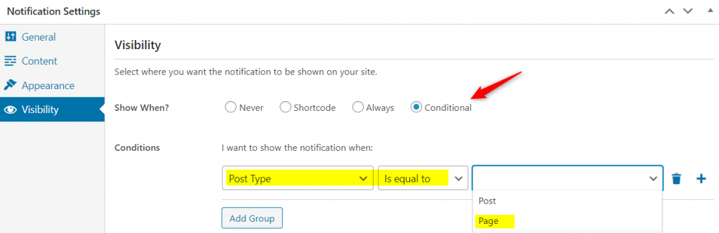 Conditional logic visibility