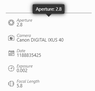 Exif attributes displayed in the lightbox