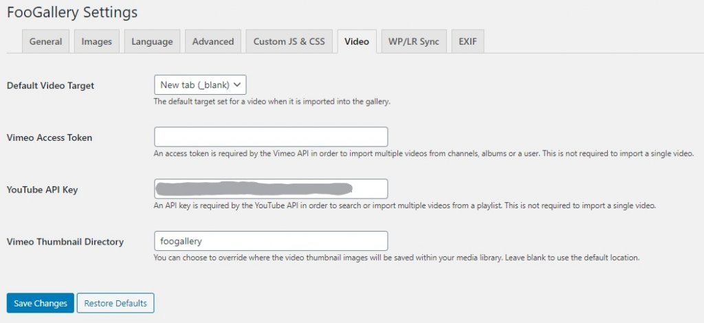 add YouTube API to FooGallery Settings