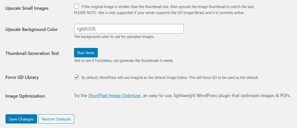 Settings to upscale images and run thumbnail generation test