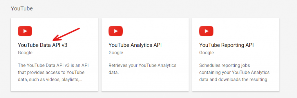 Select YouTube Data API v3