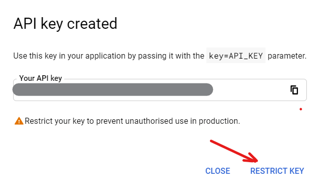 API Key created where you can restrict the key