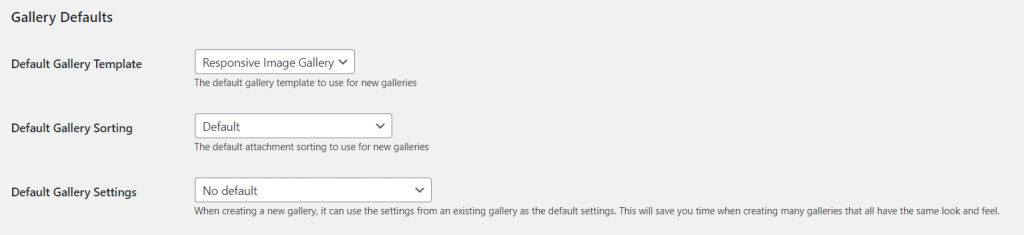 Gallery default settings for foogallery