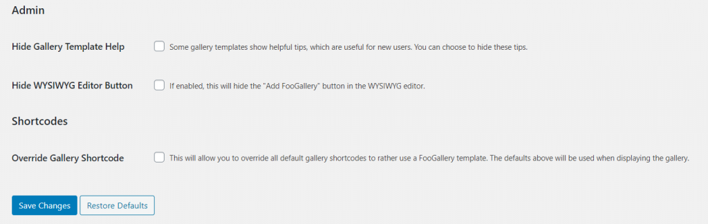 Admin settings for foogallery free and pro