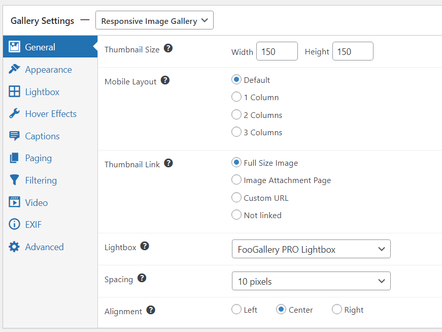 general settings for responsive gallery layout