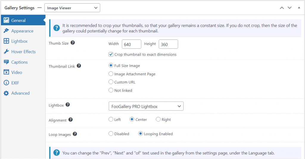 Image Viewer Gallery settings