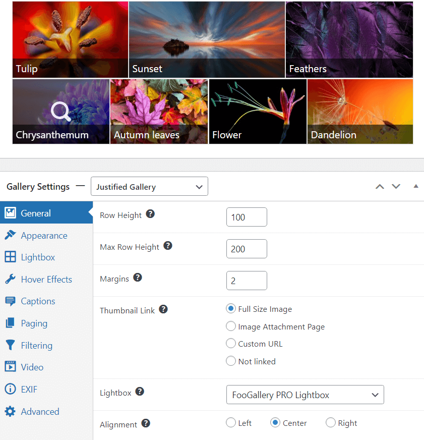Justified gallery layout and settings